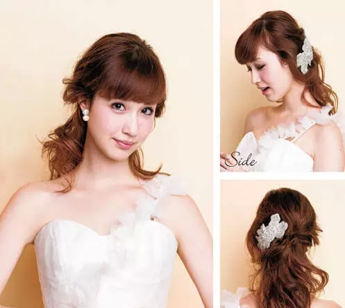 style1:将头发盘成高丸子头后佩戴珍珠头纱,显得梦幻甜美,两旁预留的图片